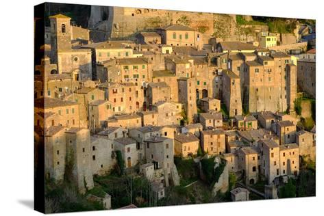 View of Sorano Seen from Etruscan Rock Settlement of San Rocco, Maremma, Grosseto, Tuscany, Italy-Carlo Morucchio-Stretched Canvas Print