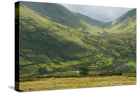 Steam Engine and Passenger Carriage on Trip Down Snowdon Mountain Railway, Gwynedd, Wales-Peter Barritt-Stretched Canvas Print