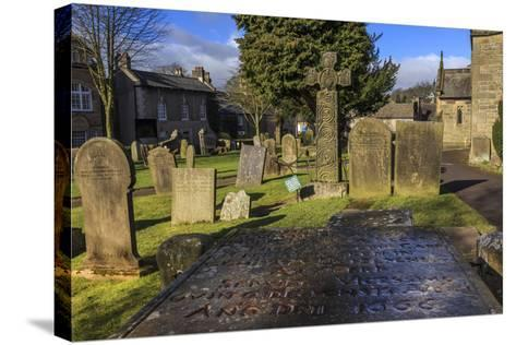 Saxon Cross and Plague Victim's Table Tomb (Catherine Mompesson), Derbyshire-Eleanor Scriven-Stretched Canvas Print