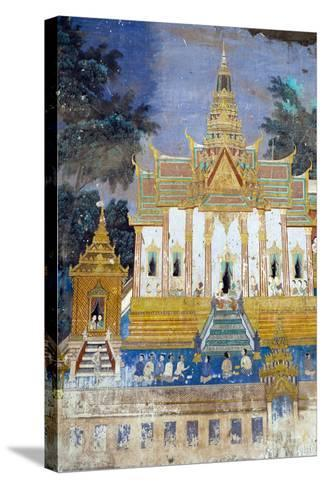 Detail from the Reamker Murals (Khmer Version of the Ramayana), Royal Palace, Phnom Penh, Cambodia-Alex Robinson-Stretched Canvas Print