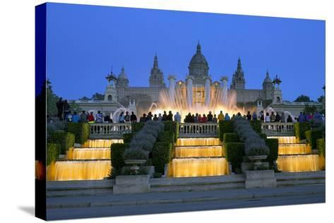 Fountains in Front of the National Museum of Art, Spain-Gavin Hellier-Stretched Canvas Print