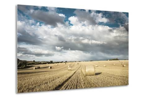 Baled Field, Gloucestershire, England, United Kingdom, Europe-John Alexander-Metal Print