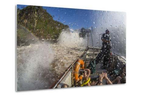 Tourists Take a River Boat to the Base of the Falls, Misiones, Argentina-Michael Nolan-Metal Print