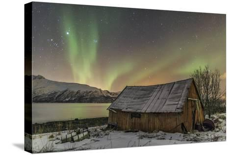 The Northern Lights Illuminates the Wooden Cabin, Svensby, Lyngen Alps, Troms, Lapland, Norway-Roberto Moiola-Stretched Canvas Print