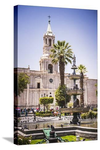 Plaza De Armas Fountain and Basilica Cathedral of Arequipa, Arequipa, Peru, South America-Matthew Williams-Ellis-Stretched Canvas Print