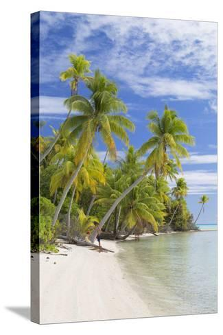 Couple on Beach at Les Sables Roses (Pink Sands), French Polynesia-Ian Trower-Stretched Canvas Print