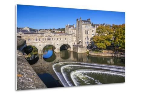 Bath Weir and Pulteney Bridge on the River Avon, Bath, Somerset, England, United Kingdom-Billy Stock-Metal Print