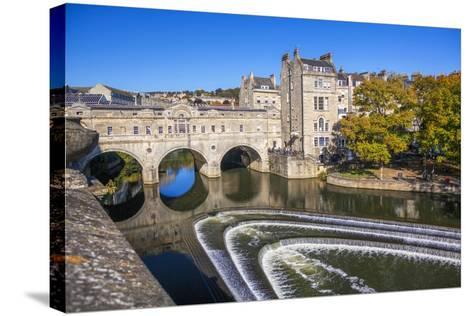 Bath Weir and Pulteney Bridge on the River Avon, Bath, Somerset, England, United Kingdom-Billy Stock-Stretched Canvas Print