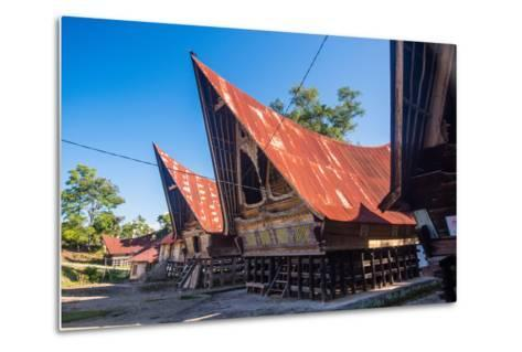 Traditional Batak House in Lake Toba, Sumatra, Indonesia, Southeast Asia-John Alexander-Metal Print