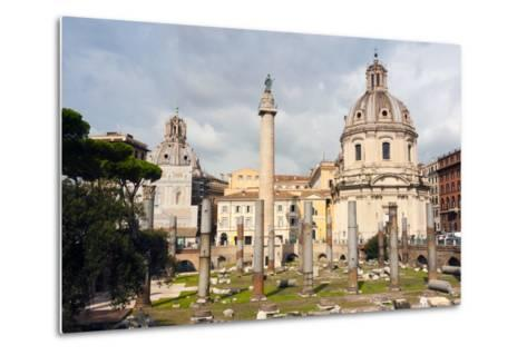 Trajan's Column Between Dome of St. Maria Di Loreto (Left) and Ss.Nome Di Maria, Latium, Italy-Nico Tondini-Metal Print