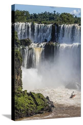 A River Boat at the Base of the Falls, Iguazu Falls National Park, Misiones, Argentina-Michael Nolan-Stretched Canvas Print