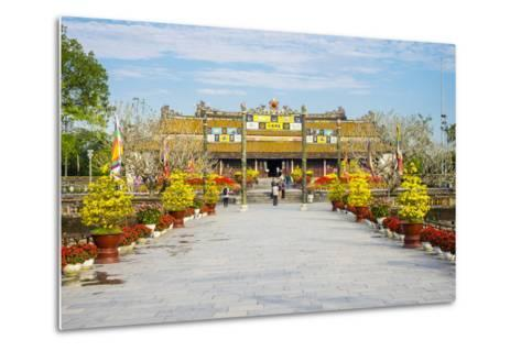 Thai Hoa Palace (Hall of Supreme Harmony) Beyond the Bridge of Golden Water, Vietnam-Jason Langley-Metal Print