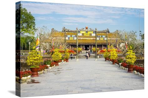 Thai Hoa Palace (Hall of Supreme Harmony) Beyond the Bridge of Golden Water, Vietnam-Jason Langley-Stretched Canvas Print