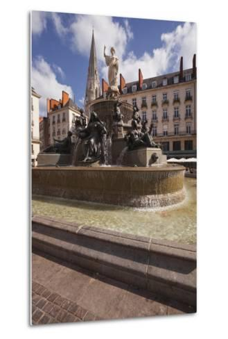 The Fountain in Place Royale in the Centre of Nantes, Loire-Atlantique, France, Europe-Julian Elliott-Metal Print