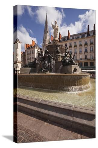 The Fountain in Place Royale in the Centre of Nantes, Loire-Atlantique, France, Europe-Julian Elliott-Stretched Canvas Print