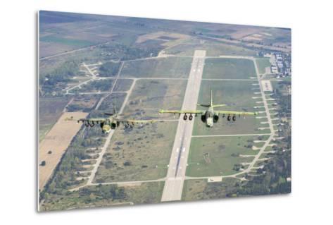 Two Bulgarian Air Force Sukhoi Su-25S Aircraft Flying over Bulgaria-Stocktrek Images-Metal Print