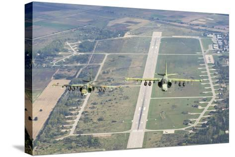 Two Bulgarian Air Force Sukhoi Su-25S Aircraft Flying over Bulgaria-Stocktrek Images-Stretched Canvas Print