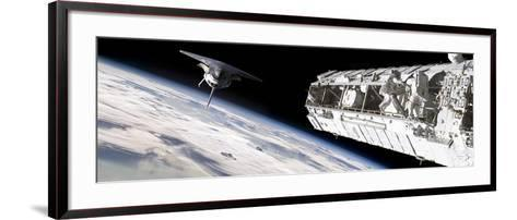 Astronauts Work on a Space Station While a Space Shuttle Approaches-Stocktrek Images-Framed Art Print