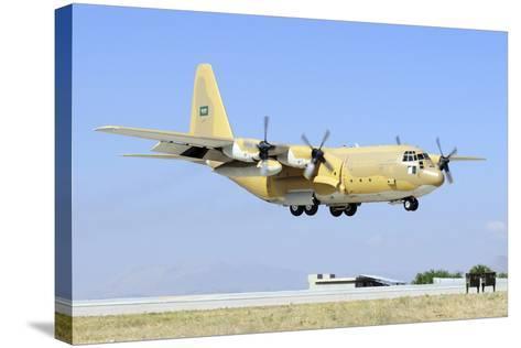 A Sroyal Saudi Air Force C-130H-30 Hercules Landing at Konya Air Base-Stocktrek Images-Stretched Canvas Print