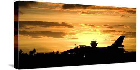 Sunset Landing This Chilean Air Force F-16 Fighting Falcon-Stocktrek Images-Stretched Canvas Print
