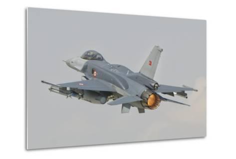 Turkish Air Force F-16 in Flight over Turkey-Stocktrek Images-Metal Print