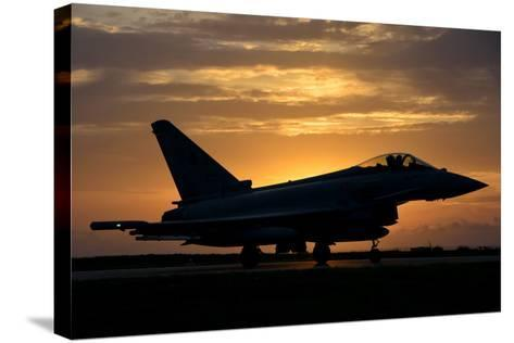An Italian Air Force F-2000 Typhoon at Sunset-Stocktrek Images-Stretched Canvas Print