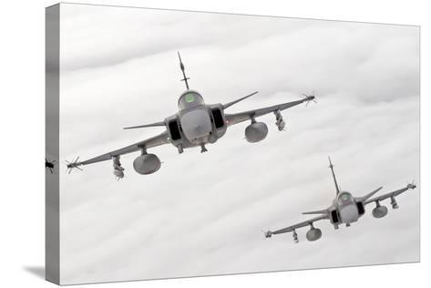 A Pair of Hungarian Air Force Jas-39 Gripen over Lithuania-Stocktrek Images-Stretched Canvas Print