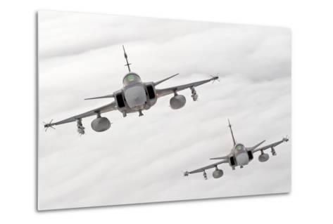 A Pair of Hungarian Air Force Jas-39 Gripen over Lithuania-Stocktrek Images-Metal Print