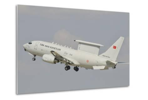 A Turkish Air Force Boeing 737 Aew Taking Off-Stocktrek Images-Metal Print