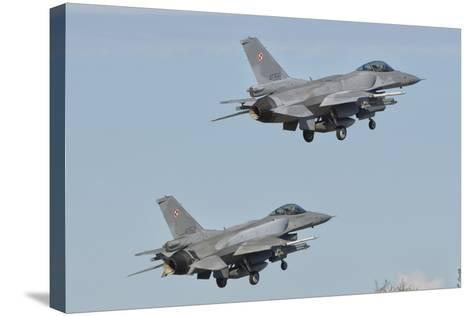 A Pair of Polish Air Force F-16 Block 52+ Taking Off-Stocktrek Images-Stretched Canvas Print