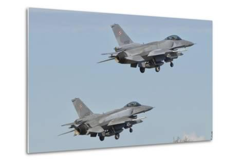 A Pair of Polish Air Force F-16 Block 52+ Taking Off-Stocktrek Images-Metal Print