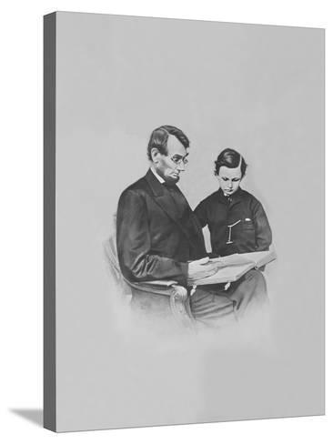 President Abraham Lincoln and His Son Tad Lincoln Looking at a Book-Stocktrek Images-Stretched Canvas Print