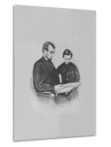 President Abraham Lincoln and His Son Tad Lincoln Looking at a Book-Stocktrek Images-Metal Print