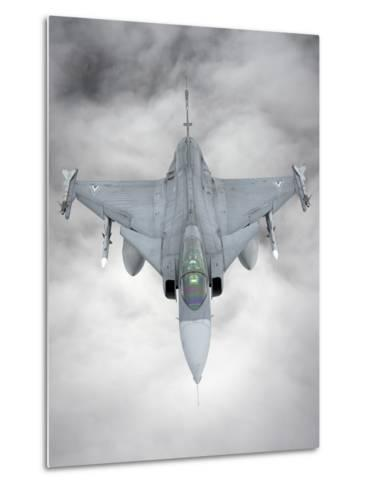 A Hungarian Air Force Jas-39 Gripen over Lithuania-Stocktrek Images-Metal Print