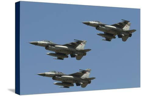 A Formation of Turkish Air Force F-16C/D Aircraft-Stocktrek Images-Stretched Canvas Print
