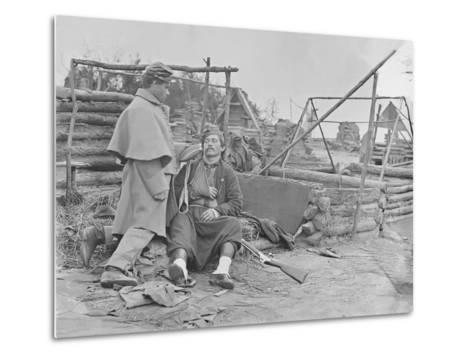 American Civil War Scene of a Deserted Camp and Wounded Zouave Soldier-Stocktrek Images-Metal Print