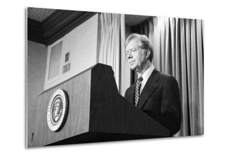 President Jimmy Carter Speaking During the Iran Hostage Crisis-Stocktrek Images-Metal Print