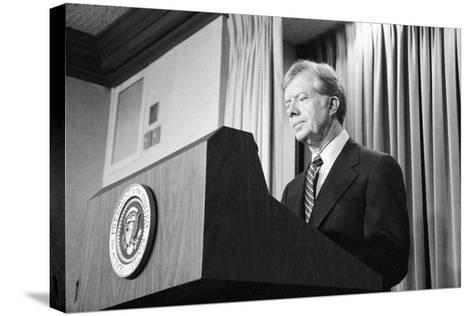 President Jimmy Carter Speaking During the Iran Hostage Crisis-Stocktrek Images-Stretched Canvas Print