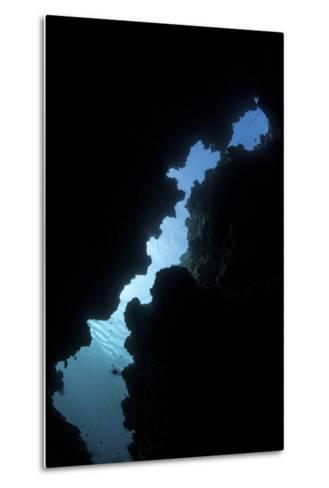 Sunlight Illuminates a Submerged Grotto on a Reef in the Solomon Islands-Stocktrek Images-Metal Print