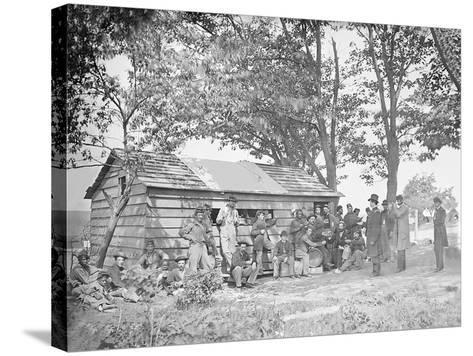 Camp Scene at a Sutler's Store During American Civil War-Stocktrek Images-Stretched Canvas Print