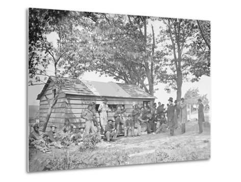 Camp Scene at a Sutler's Store During American Civil War-Stocktrek Images-Metal Print