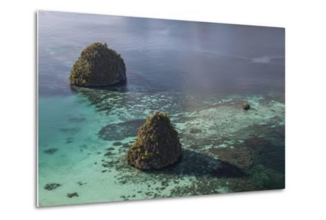 Limestone Islands Surrounded by a Coral Reef in Raja Ampat-Stocktrek Images-Metal Print