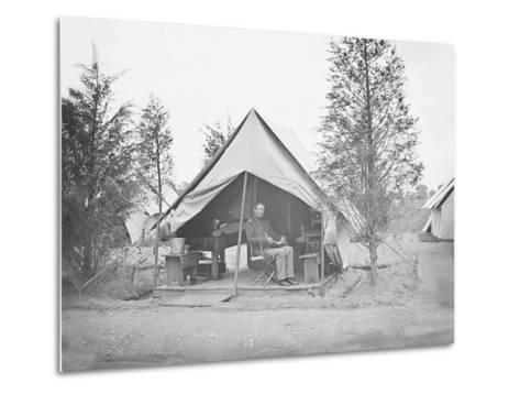 Officer in Tent During American Civil War-Stocktrek Images-Metal Print
