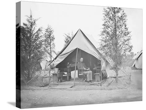 Officer in Tent During American Civil War-Stocktrek Images-Stretched Canvas Print