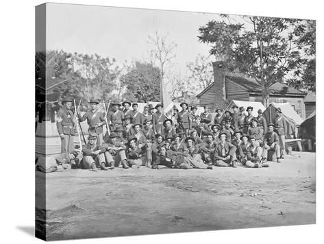 Group Photo of the 44th Indiana Infantry During the American Civil War-Stocktrek Images-Stretched Canvas Print
