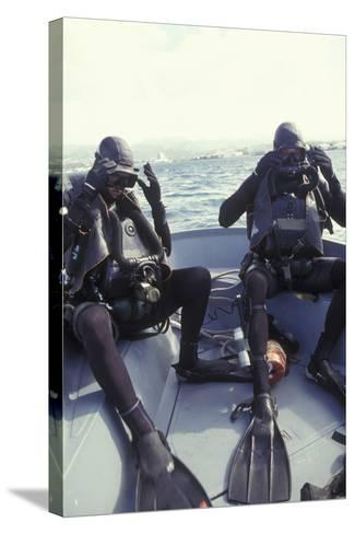 Navy Seals Combat Swimmers Donn their Equipment in a Utility Boat-Stocktrek Images-Stretched Canvas Print