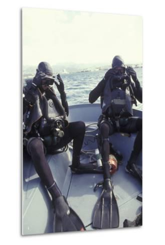 Navy Seals Combat Swimmers Donn their Equipment in a Utility Boat-Stocktrek Images-Metal Print