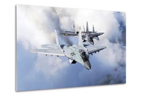 Bulgarian and Polish Air Force Mig-29S Planes Flying over Bulgaria-Stocktrek Images-Metal Print