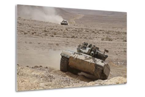 A Merkava Iii Main Battle Tank in the Negev Desert, Israel-Stocktrek Images-Metal Print