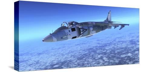 Color Illustration of an Av-8B Harrier Ii Fighter Jet-Stocktrek Images-Stretched Canvas Print